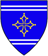 Davide di Francesco Dominici: Azure, a cross of Toulouse Or between two bars gemel argent.