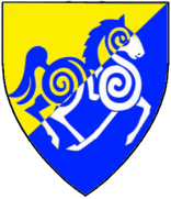 Velinn Rulavson: Per bend sinister Or and azure, a horse passant to sinister counterchanged azure and argent.
